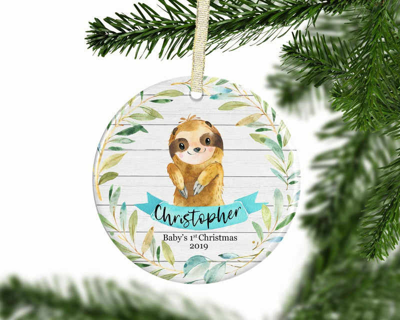 Personalized Sloth Baby Boy 1st Christmas Ornament - Ornament - GIFTABLE GOODIES
