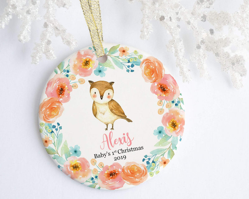 Personalized Owl Baby Girl 1st Christmas Ornament - Ornament - GIFTABLE GOODIES