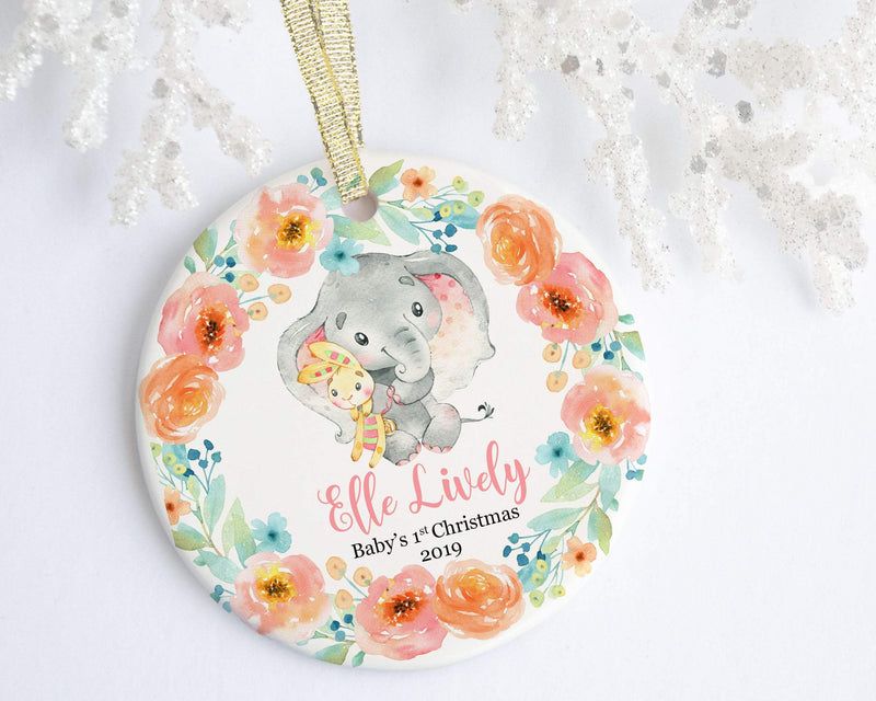 Personalized Elephant Baby Girl 1st Christmas Ornament - Ornament - GIFTABLE GOODIES