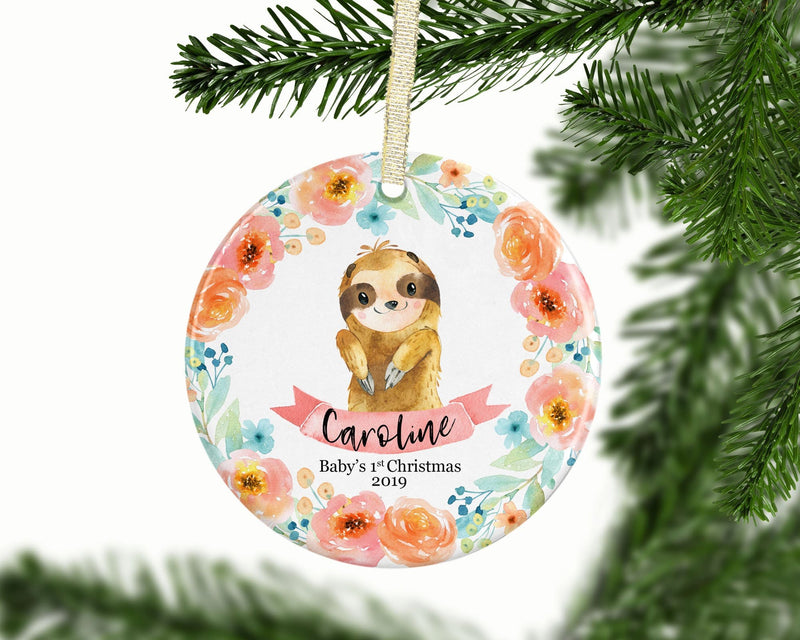 Sloth Baby Girl 1st Christmas Ornament - Ornament - GIFTABLE GOODIES
