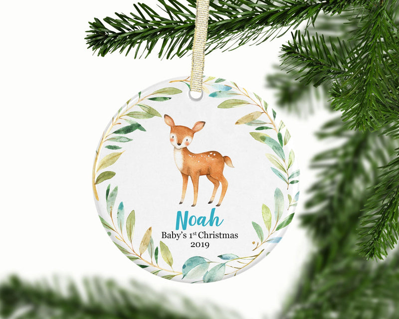 Personalized Deer Baby Boy 1st Christmas Ornament - Ornament - GIFTABLE GOODIES