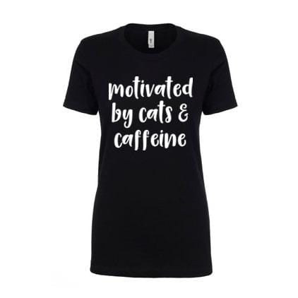 CLEARANCE - Ladies Fitted Motivated by Cats and Caffeine T-Shirt (L) -  - GIFTABLE GOODIES