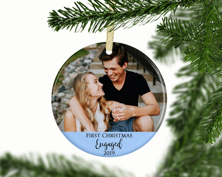 Personalized First Christmas Engaged Photo Ornament