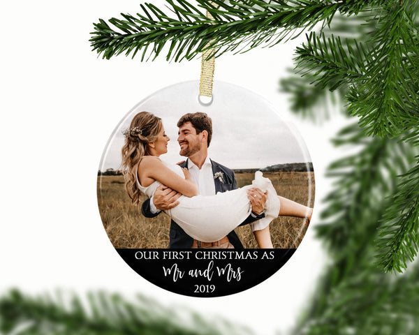 Personalized First Christmas as Mr and Mrs Photo Ornament - Ornament - GIFTABLE GOODIES