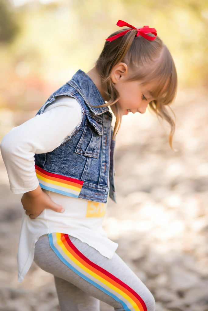Vintage Rainbow Denim Vest