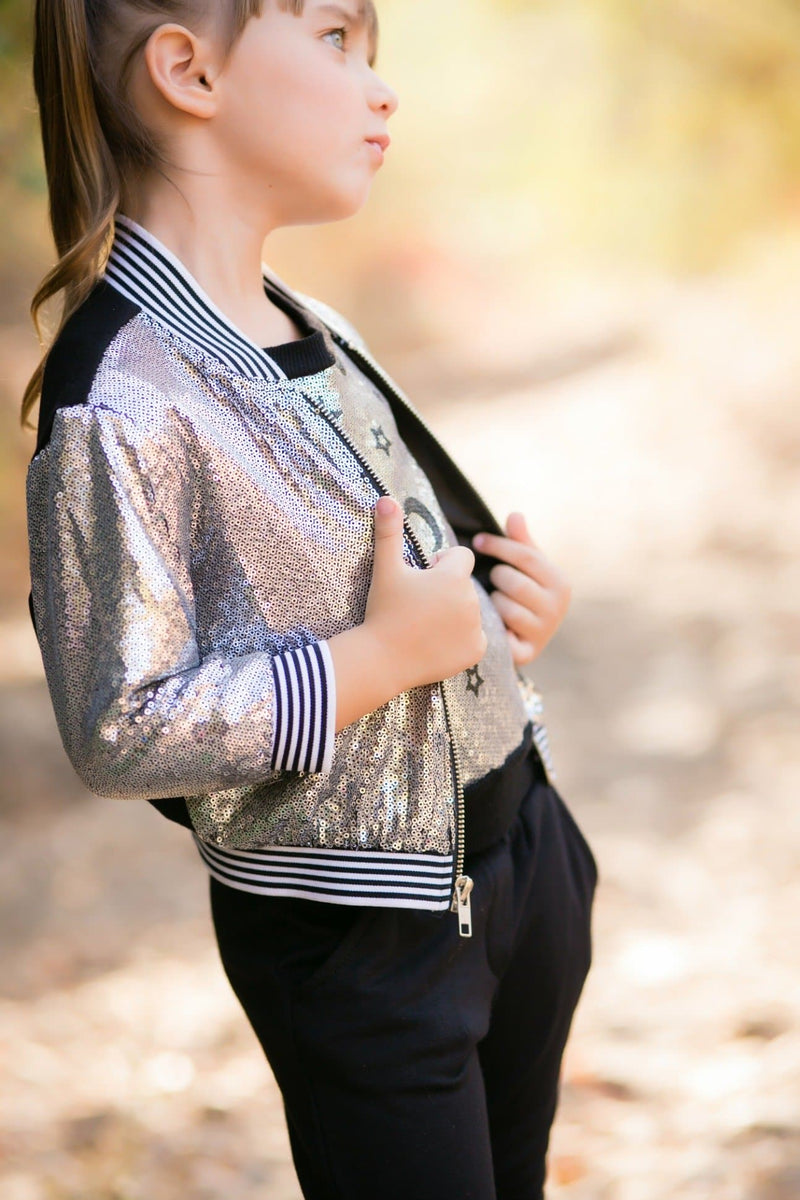Moon & Stars Sequins Bomber Jacket