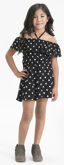 OFF THE SHOULDER FLOUCE POLKA DOT ROMPER