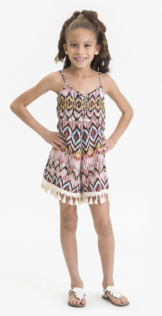 LOOSE FITTING IKAT PRINT ROMPER FT. TASSEL DECOR