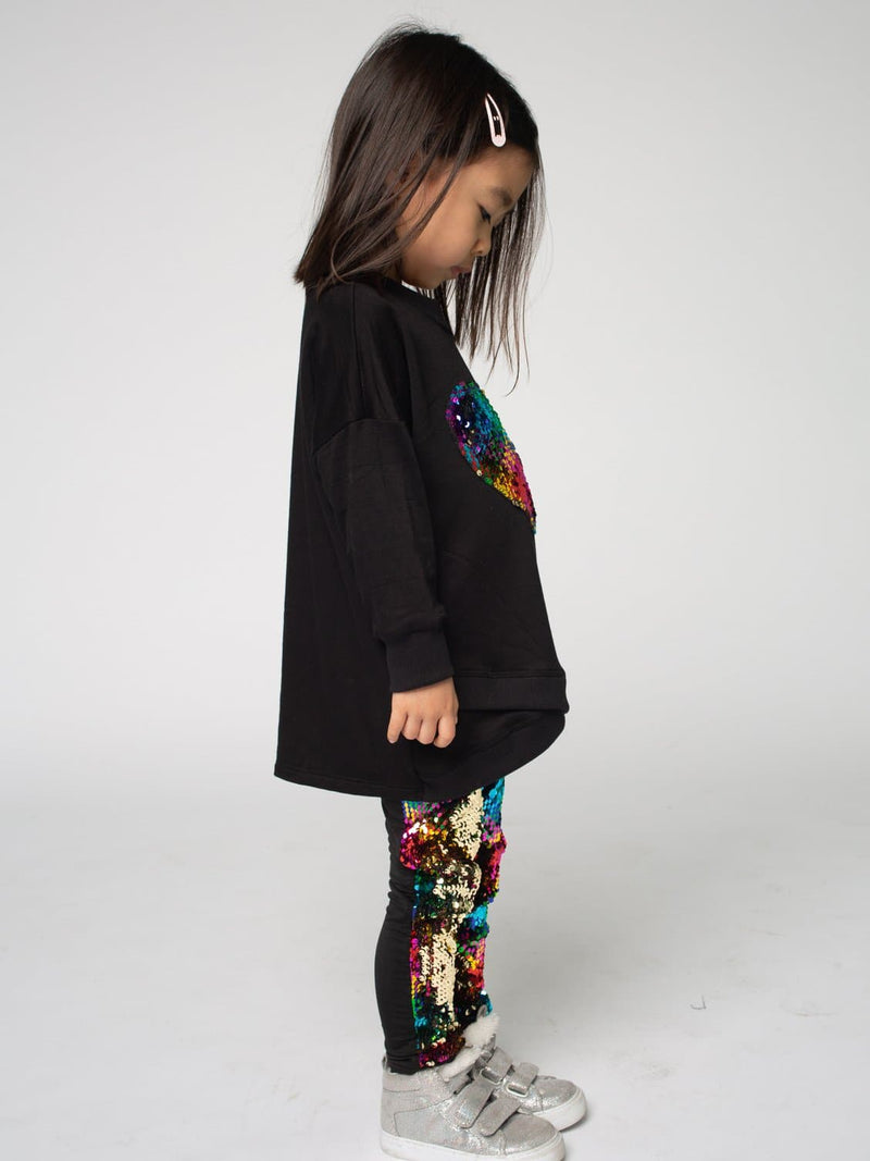 SWEATSHIRT TUNIC FT. SEQUIN RAINBOW HEART