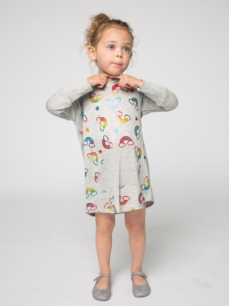 RAINBOW FOIL HOODIE DRESS