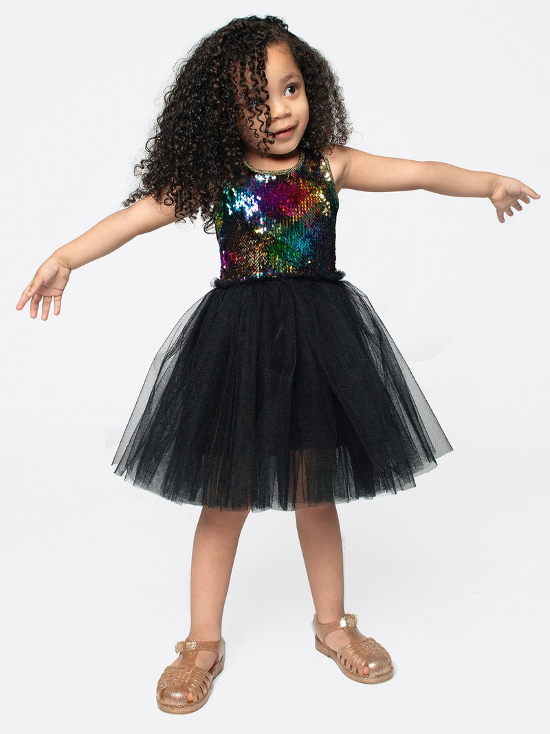 REVERSIBLE RAINBOW SEQUIN PLAID TULLE DRESS