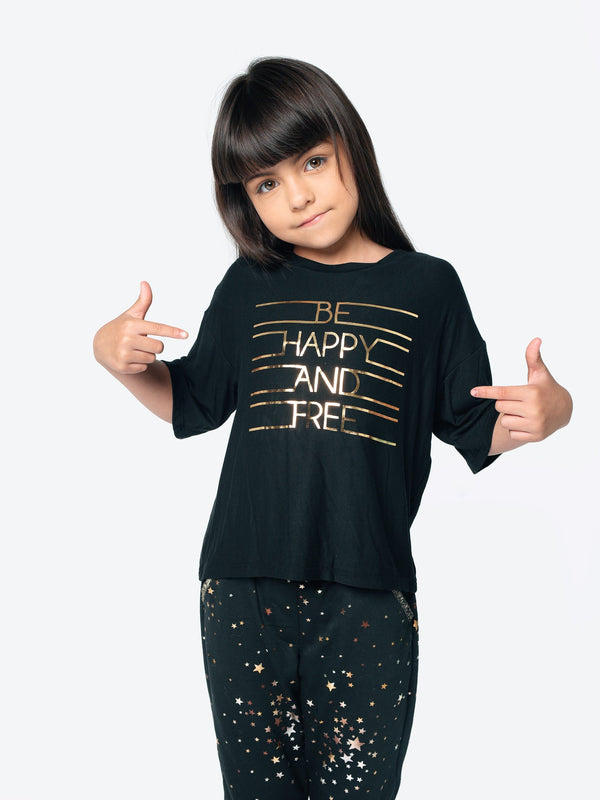 """BE HAPPY AND FREE"" BOXY TOP"