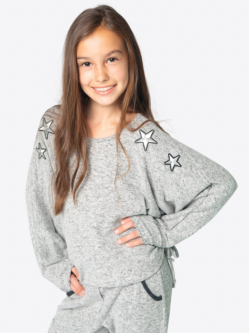 SUPER SOFT FLEECE TOP FT. STAR PATCHES & DRAWSTRINGS