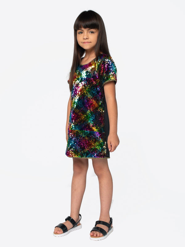 REVERSIBLE RAINBOW SEQUIN SHIFT DRESS