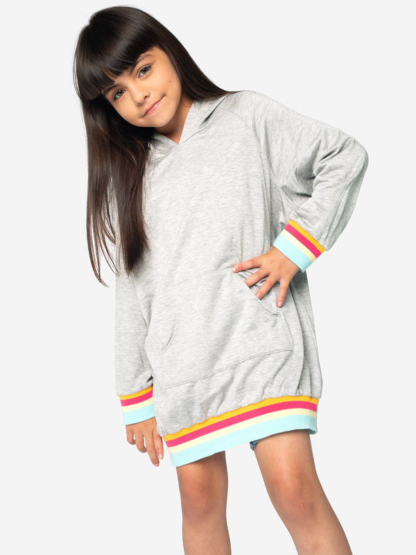 DECORATIVE RAINBOW RIB HOODIE DRESS