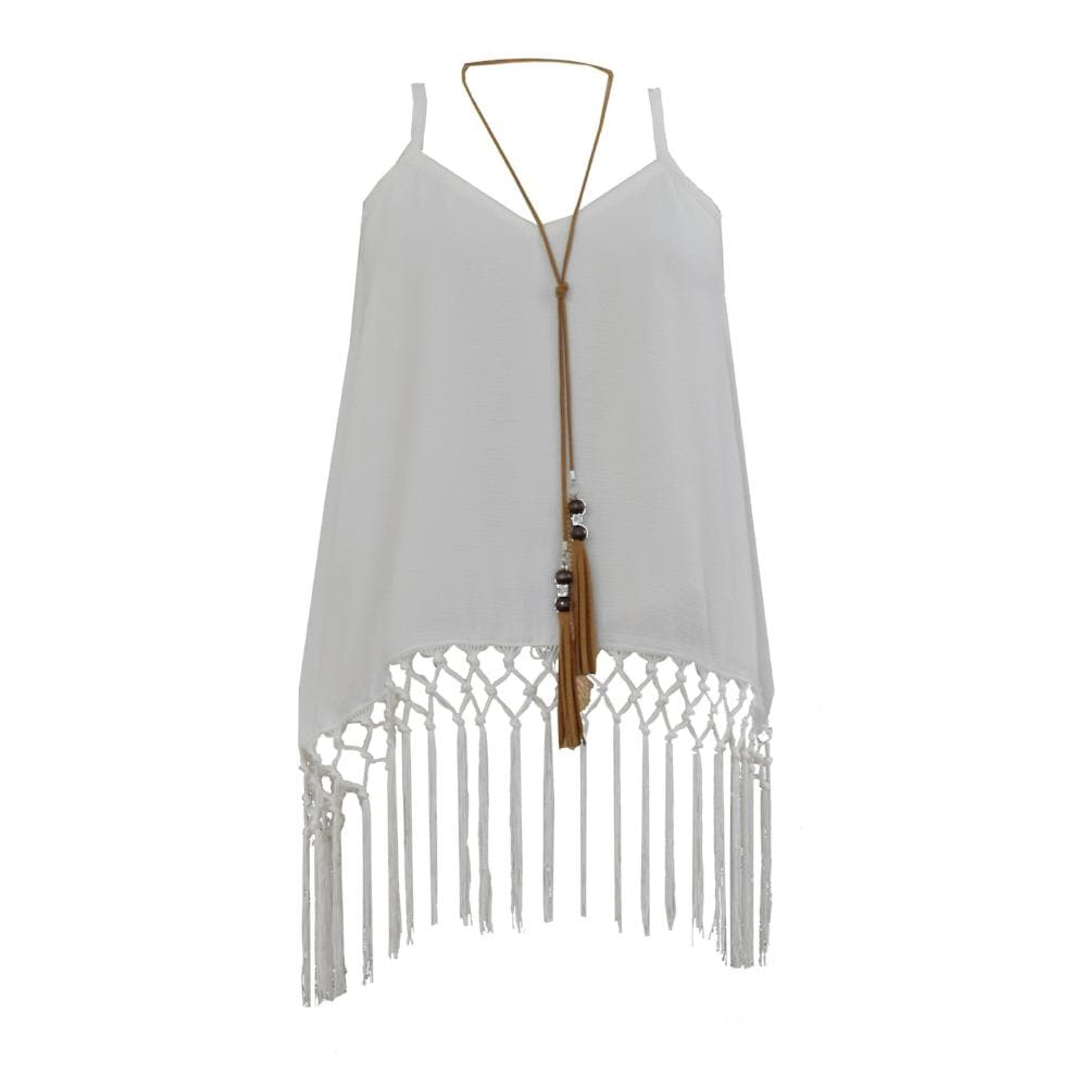 Indie Rock Fringe Tank with Necklace