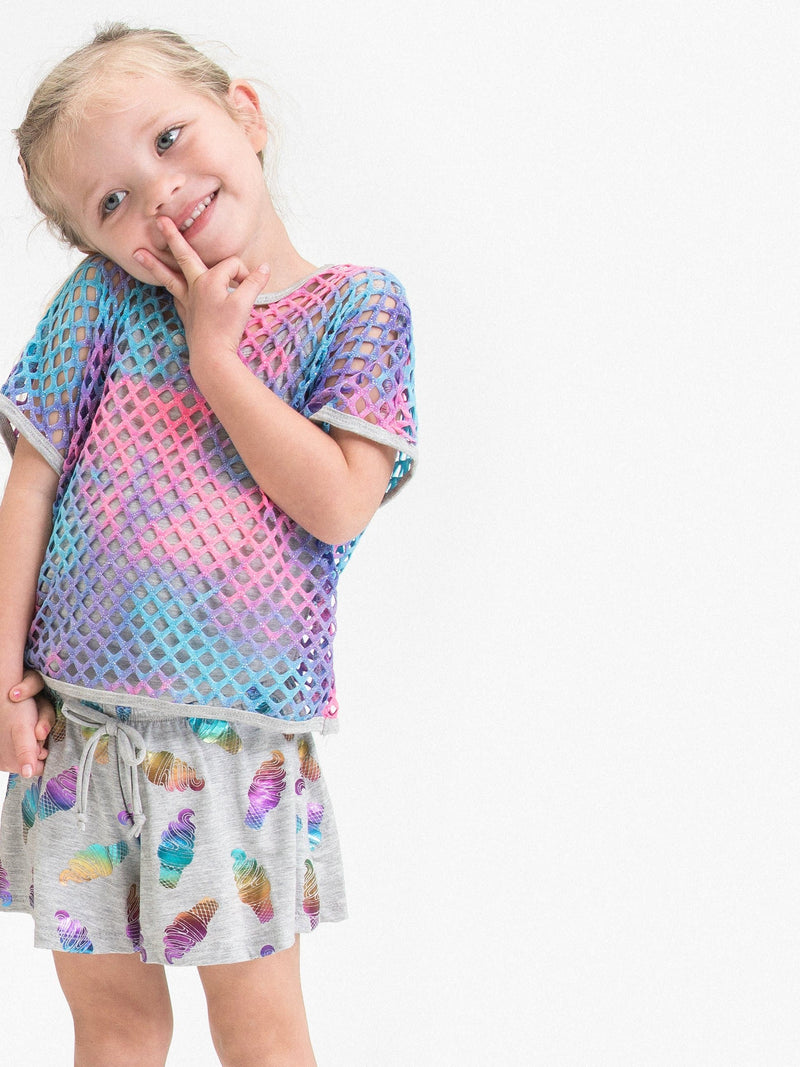 RAINBOW FOIL ICE CREAM SWING SHORTS