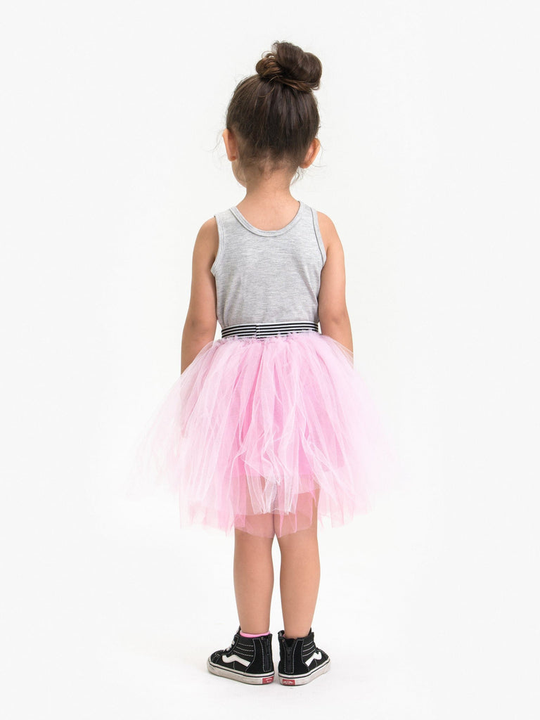 TULLE SKIRT W/ ATHLETIC STRIPE WAISTBAND