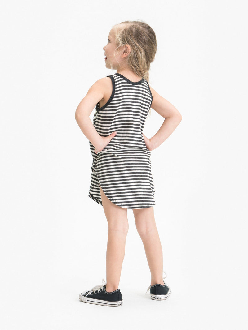 STRIPE TIE FRONT TANK DRESS