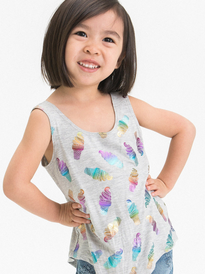 RAINBOW FOIL ICE CREAM ASYMMETRICAL TANK TOP