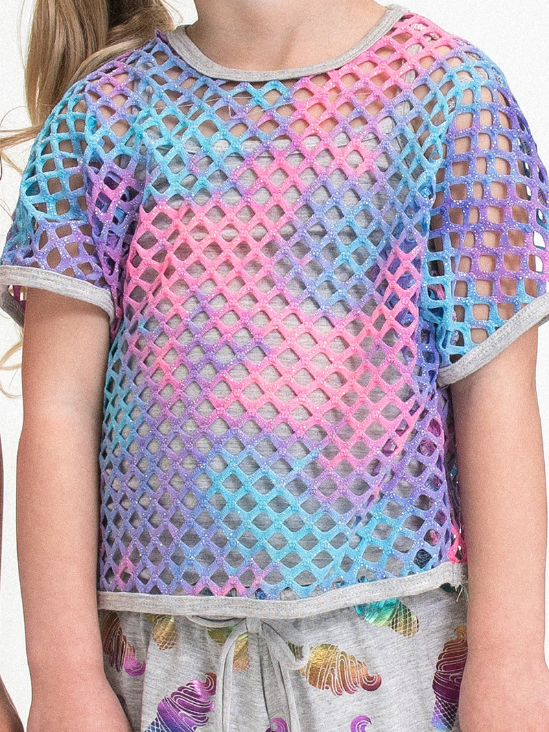 2PC SET: TIE DYE GLITTER FISH NET TOP