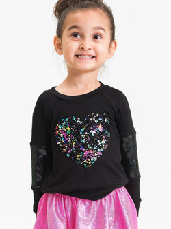 SPLATTER RAINBOW FOIL HEART SWEATSHIRT
