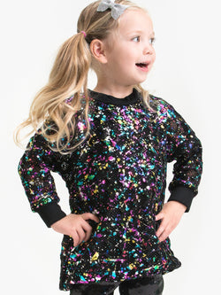 SPLATTER RAINBOW FOIL TUNIC DRESS
