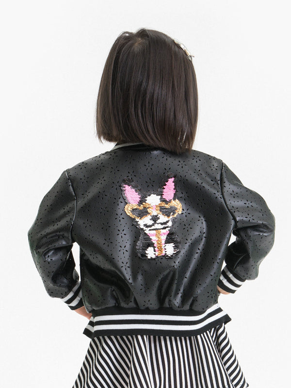 DAISY LASER CUT PU-LEATHER BOMBER FT. SEQUIN DOG