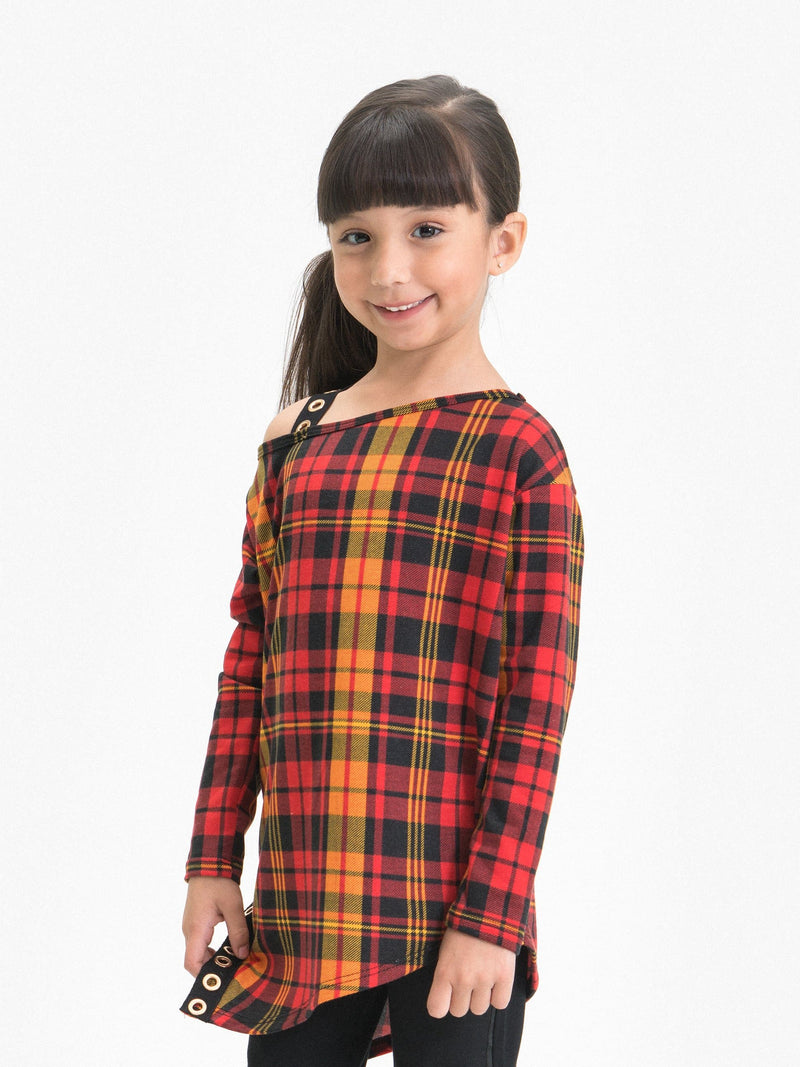 PLAID OFF ONE SHOULDER ASYMMETRICAL TUNIC