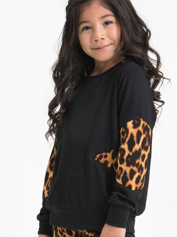 LEOPARD PRINT SPLICED SWEATSHIRT