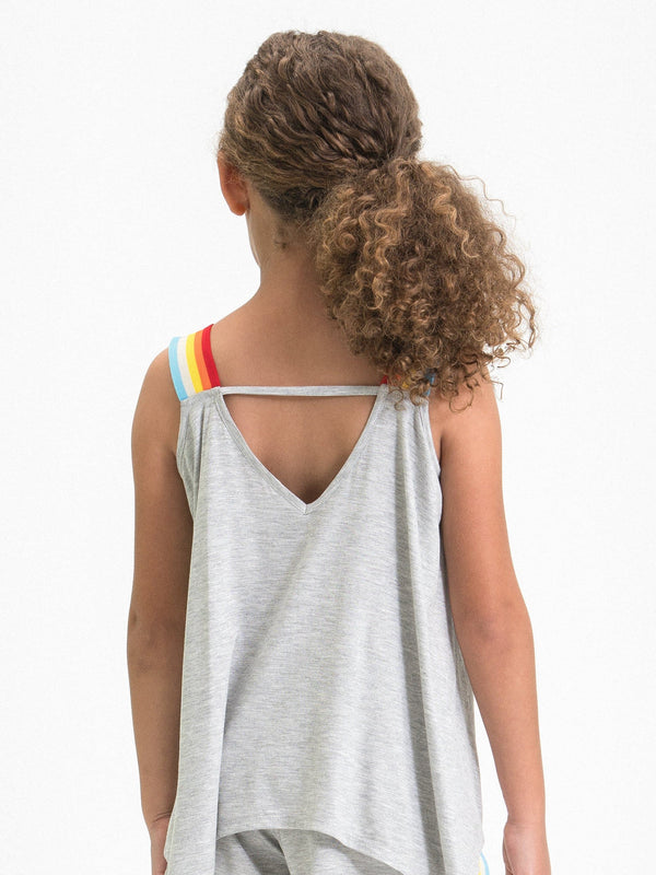 RAINBOW STRIPE SCARF TANK TOP