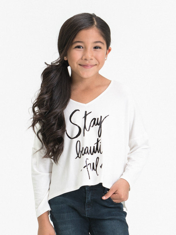 "V-NK TOP FT. ""STAY BEAUTIFUL"" GRAPHIC"