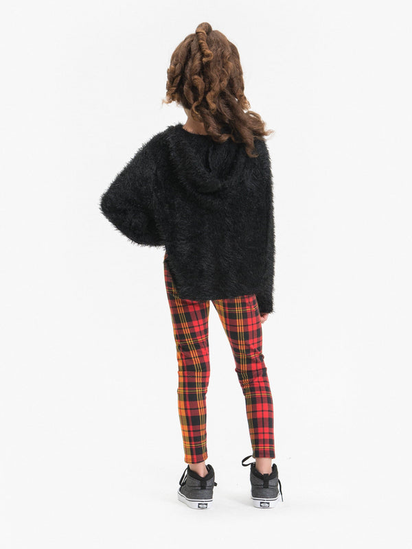 PLAID LEGGINGS FT. FAUX LACE UP