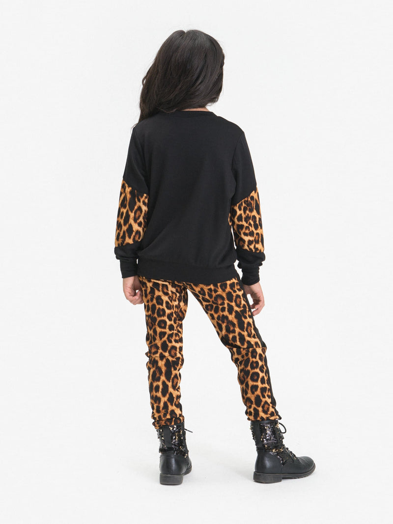 LEOPARD LEGGINGS FT. FAUX LACE UP & PULEATHER INSERTS