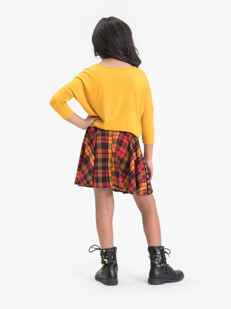 PLAID SKATER SKIRT FT. GROMMET DECOR
