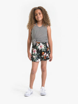 HIBISCUS FLOWER PRINTED SWING SHORTS