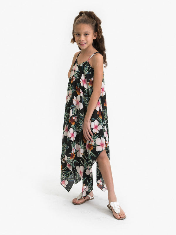 HIBISCUS FLOWER PRINTED HANDKERCHIEF DRESS
