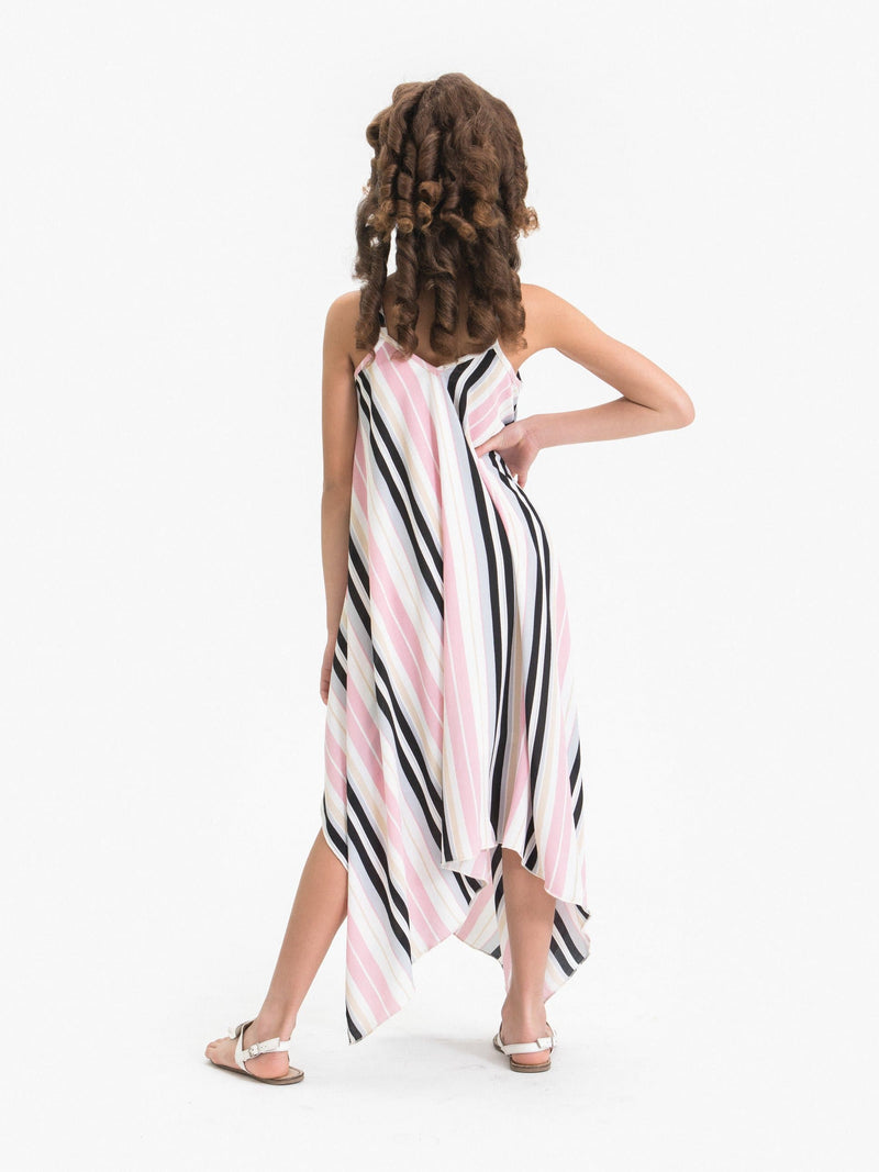 STRIPE PRINTED HANDKERCHIEF DRESS