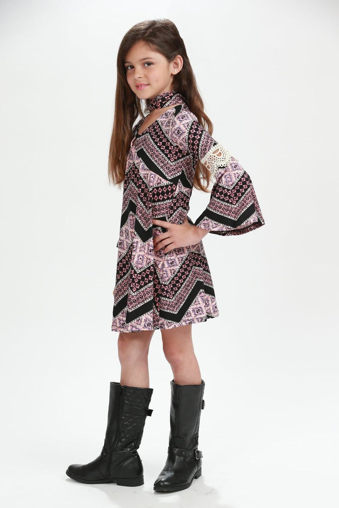 Pink Diamond Tribal Chevron Dress with Scarf