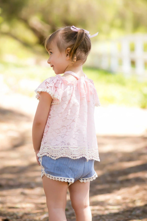 Pink & Cream Smocked Lace Top