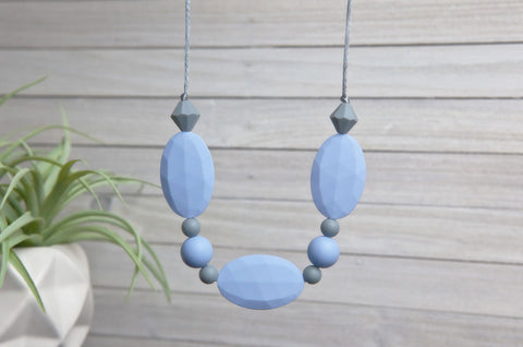 Adelyn Silicone Teething Necklace - Serenity Blue