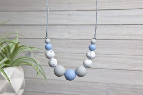 Sofia Silicone Teething Necklace - Serenity Blue