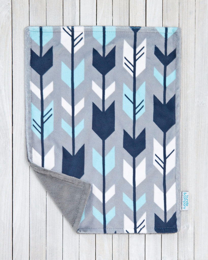 Minky Baby Snuggle Blanket - Navy & Gray Arrows