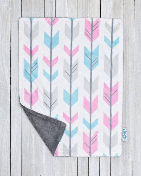 Minky Baby Snuggle Blanket - Pink & Teal Arrows