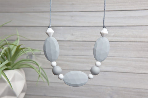 Adelyn Silicone Teething Necklace - Stone Gray