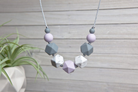Emmy Silicone Teething Necklace - Lavender Bloom