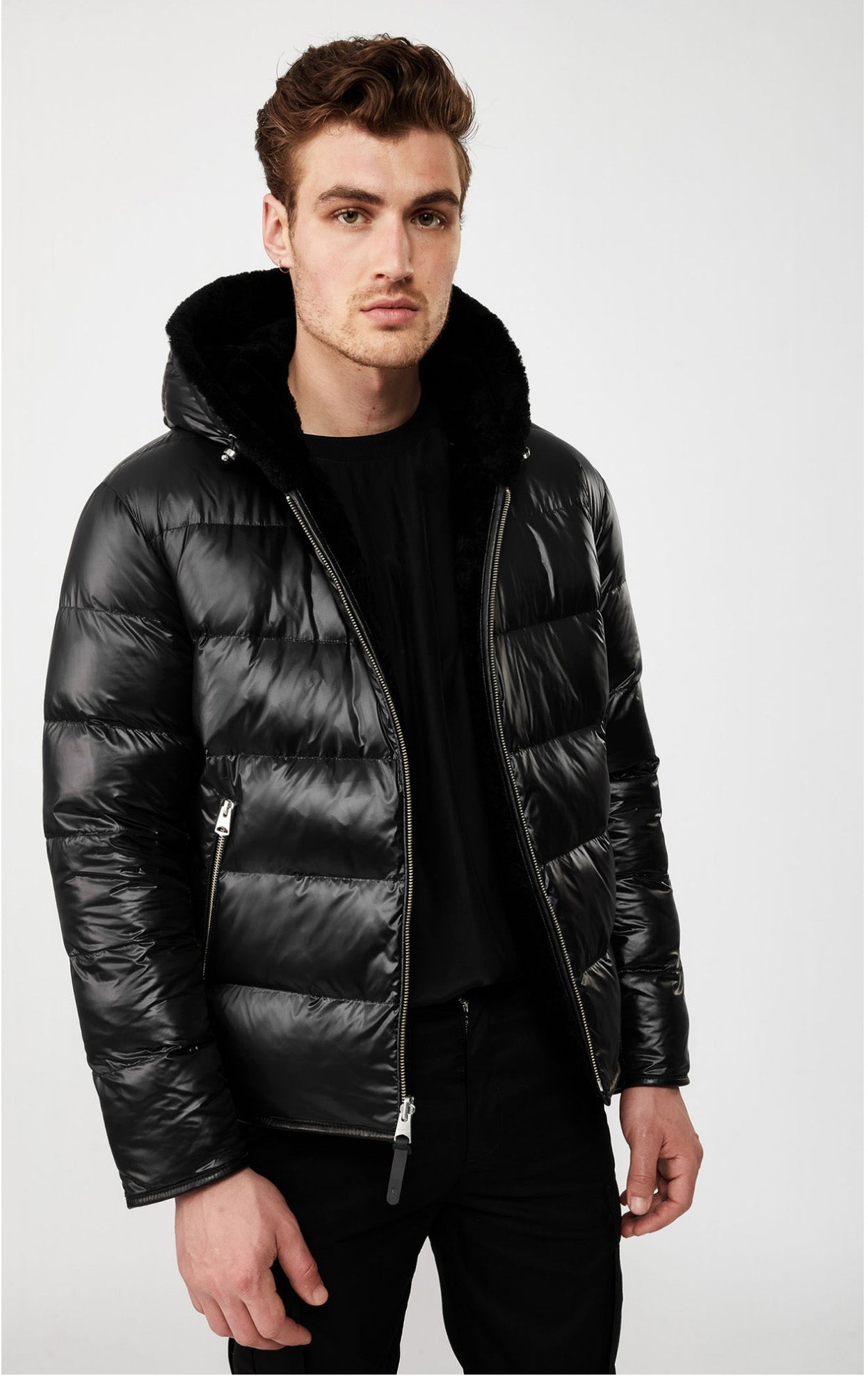 BRYCE reversible down jacket with sheepskin shell Black