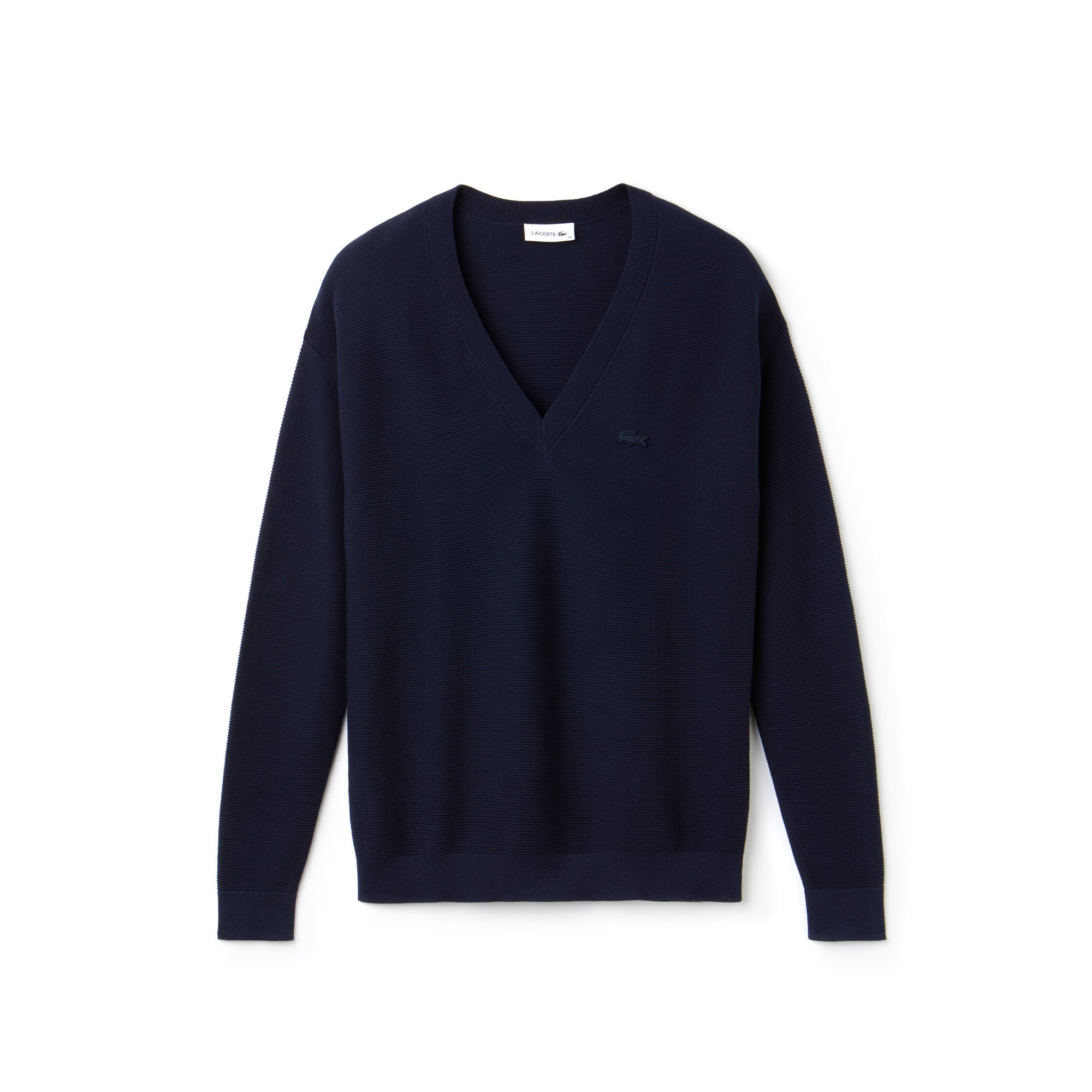Women's V-Neck Seed Stitch Cotton Sweater_NAVY BLUE