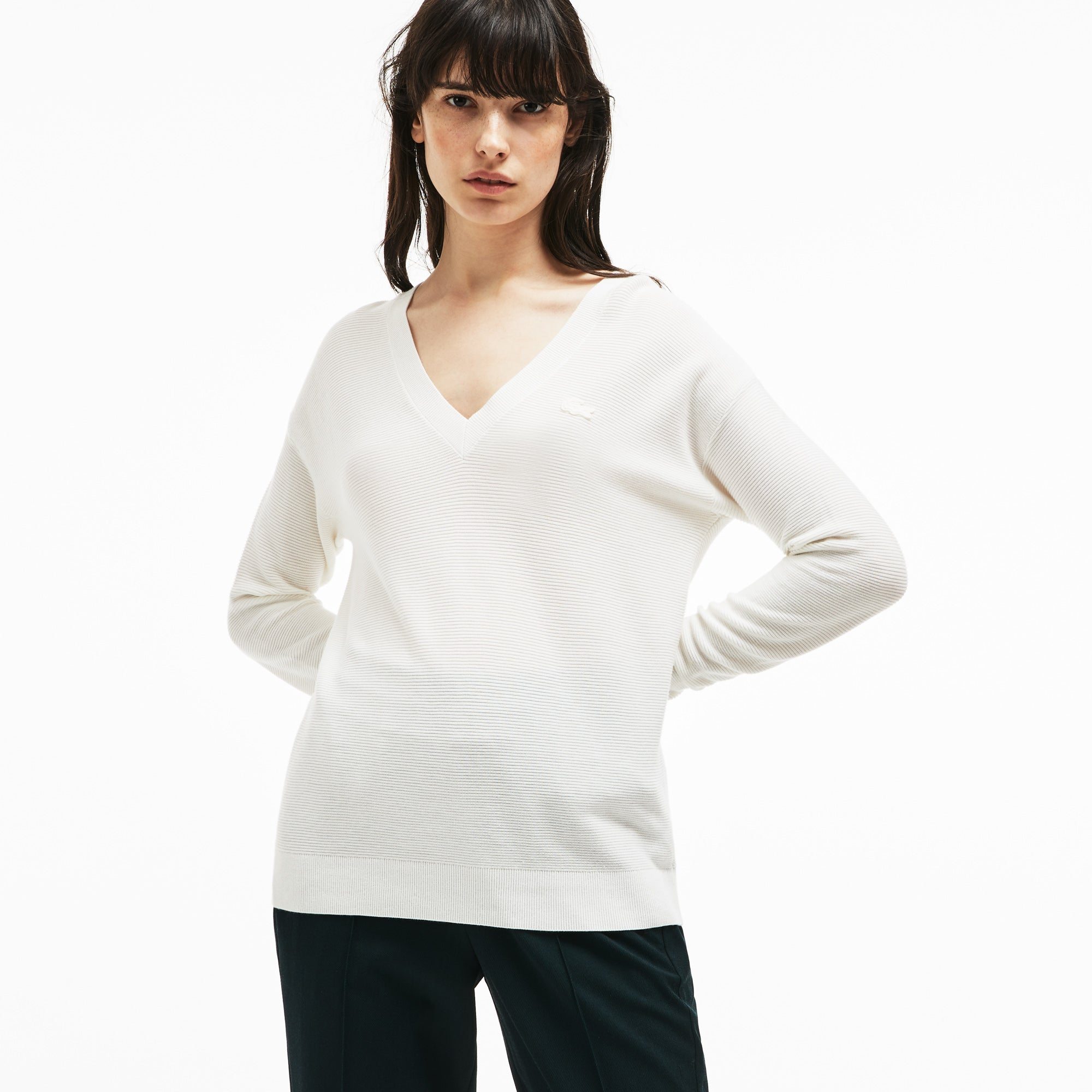 Women's V-Neck Seed Stitch Cotton Sweater_FLOUR