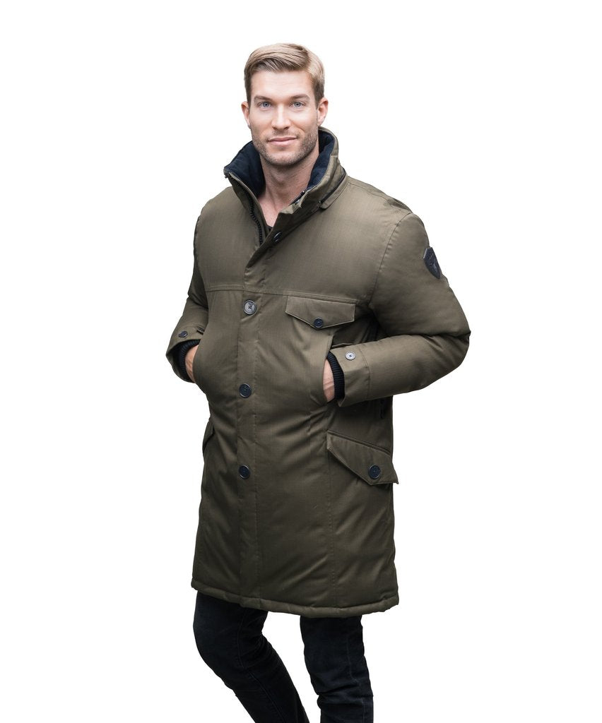 JOHAN MEN'S LONG PARKA (ARMY GREEN)